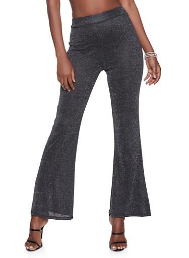 Flared Lurex Pants,BLACK,large
