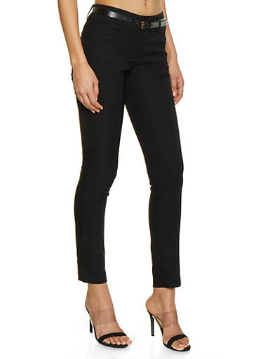 2 Button Belted Stretch Dress Pants,BLACK,large