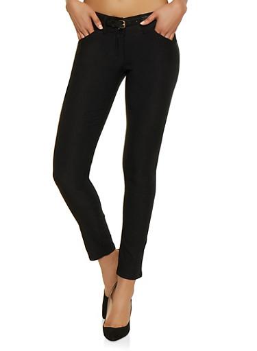Belted Stretch Skinny Pants | 1061062700070,BLACK,large