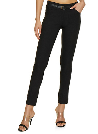 Two Button Belted Stretch Dress Pants,BLACK,large