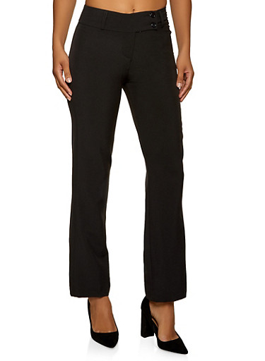 Two Button Dress Pants,BLACK,large