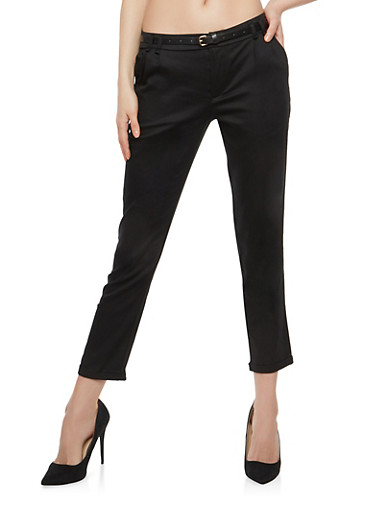 Twill Belted Rolled Cuff Pants,BLACK,large