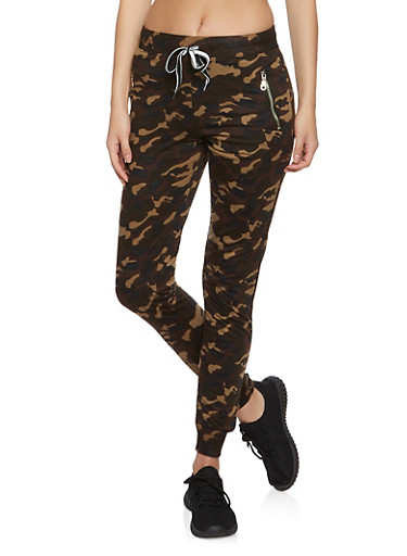 Zipper Detail Camo Joggers,OLIVE,large