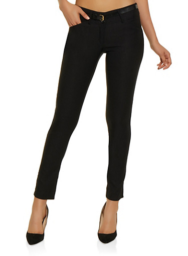 Skinny Belted Stretch Dress Pants,BLACK,large