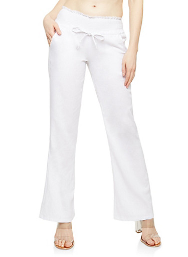 Smocked Waist Wide Leg Linen Pants,WHITE,large