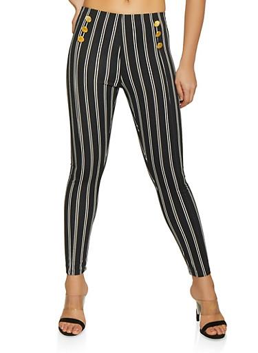 Vertical Stripe Sailor Pants,BLACK/WHITE,large