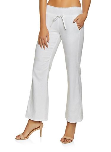 Smocked Drawstring Waist Linen Pants,WHITE,large