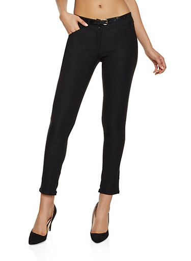 Fixed Cuff Skinny Dress Pants,BLACK,large
