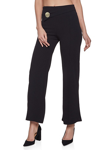 Pintuck Palazzo Pants,BLACK,large