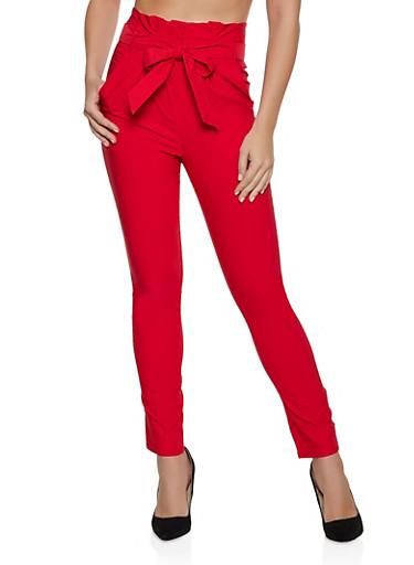 Paper Bag Waist Stretch Dress Pants,RED,large