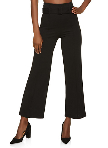 Belted Pintuck Palazzo Pants,BLACK,large