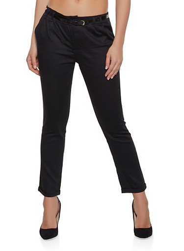 Pleated Roll Cuff Trousers,BLACK,large