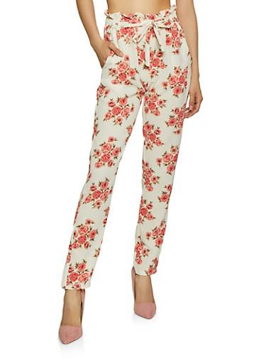 Flower Print Crepe Knit Pants,IVORY,large