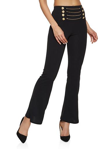 Flared Chain Detail Sailor Pants,BLACK,large