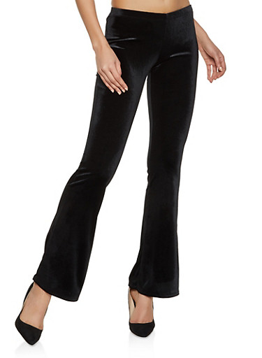 Flared Velvet Pants,BLACK,large