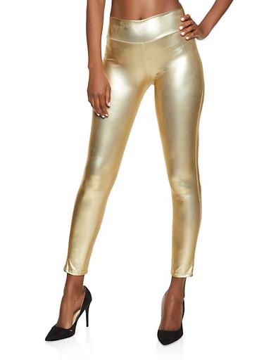 Foil Coated Leggings,GOLD,large