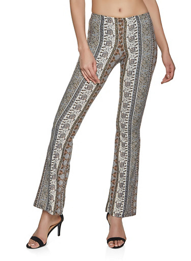 Floral Border Print Flared Pants,BLACK/WHITE,large