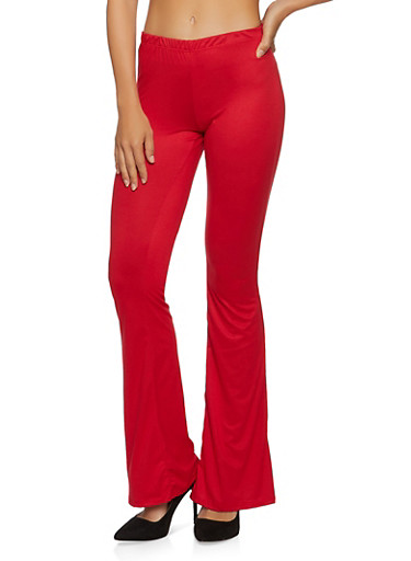 Solid Flare Pants,RED,large