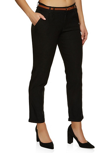 Stretch Fixed Cuff Dress Pants,BLACK,large