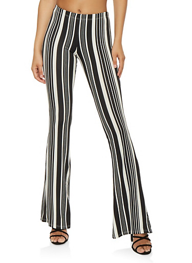 Soft Knit Printed Flared Pants,BLACK/WHITE,large