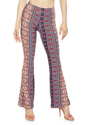 Soft Knit Printed Flared Pants | Tuggl