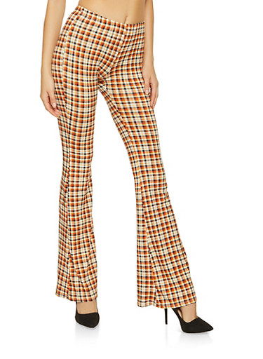 Soft Knit Printed Flared Pants,RUST,large