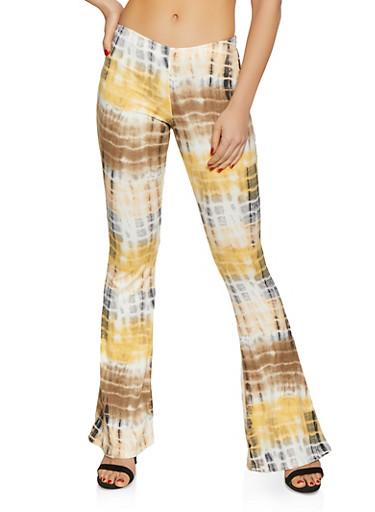 Flared Tie Dye Pants,BLACK,large