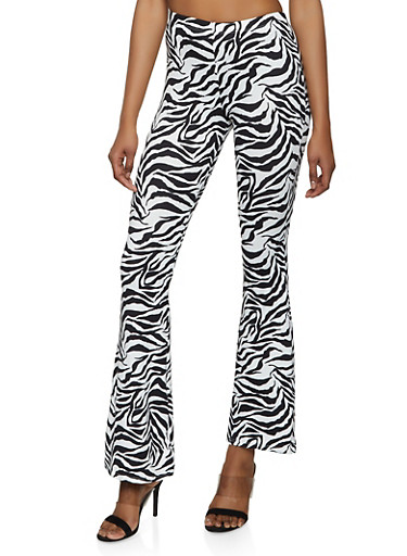 Soft Knit Zebra Print Flared Pants,WHT-BLK,large
