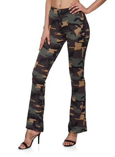 Camo Soft Knit Flared Pants,OLIVE,large