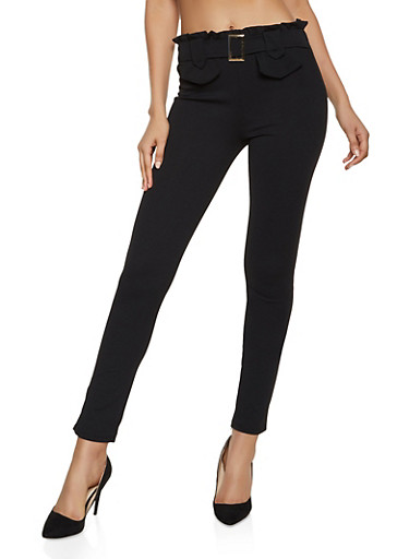Belt Detail Crepe Dress Pants,BLACK,large