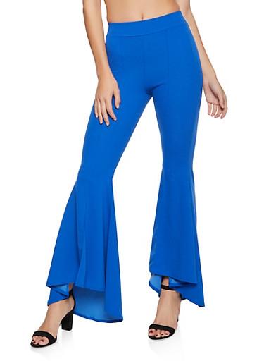 Flared Pintuck Dress Pants,RYL BLUE,large