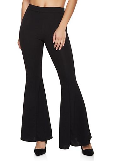 Crepe Knit Flared Pants,BLACK,large
