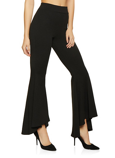 Pintuck Bell Bottom Pants,BLACK,large