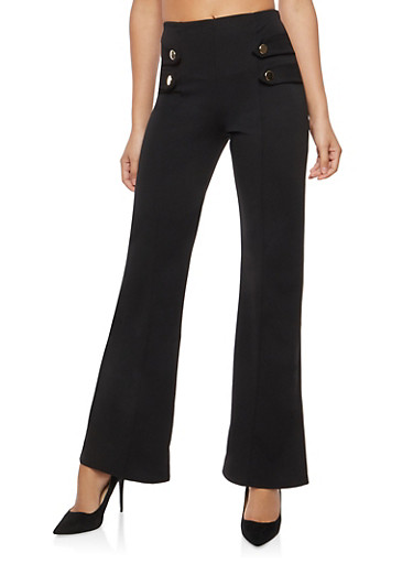 Tabbed Button Front Palazzo Pants | Tuggl