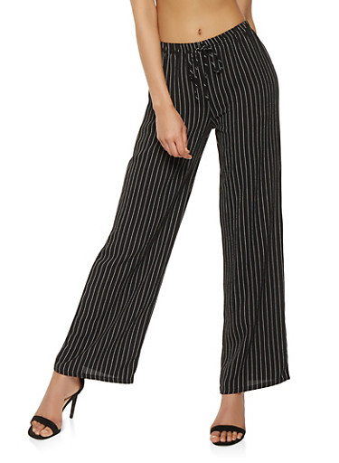 Striped Tie Front Palazzo Pants,BLACK/WHITE,large