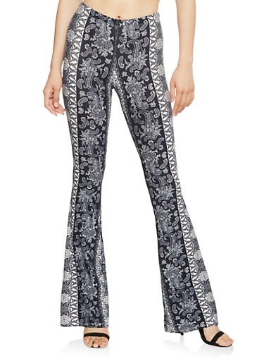 Printed Soft Knit Flared Pants,NAVY,large