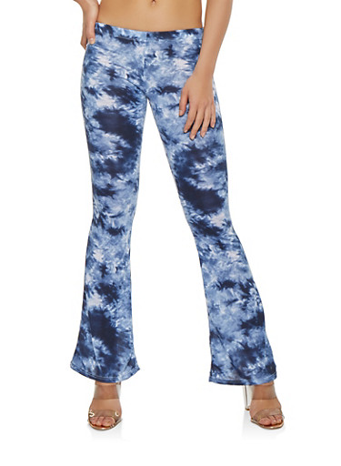 Tie Dye Flared Pants,NAVY,large