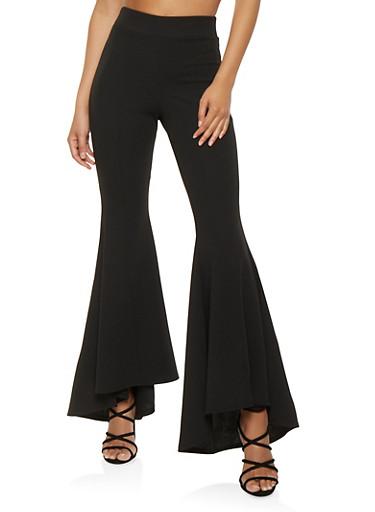 Pintuck Bell Bottom Pants,BLACK,large
