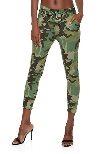 Printed Tie Front Casual Pants | 1061074015889,OLIVE,large