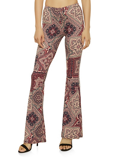 Printed Flared Pants,WINE,large