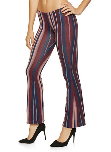 Striped Knit Flared Pants,WINE,large