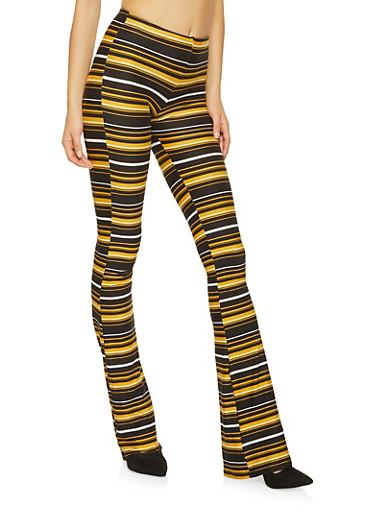 Striped Soft Knit Flared Pants,BLACK,large