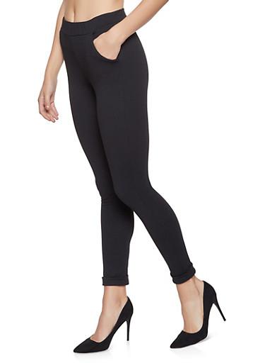 Solid Crepe Knit Dress Pants,BLACK,large
