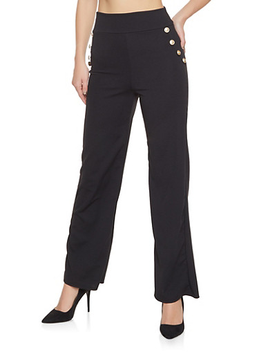 High Waisted Sailor Palazzo Pants,BLACK,large