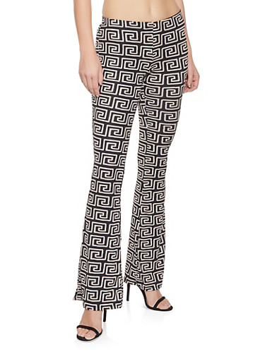 Geometric Print Flared Pants,BROWN,large