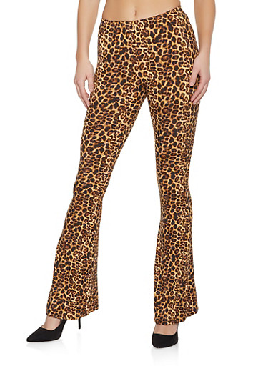Leopard Flared Pants,BROWN,large