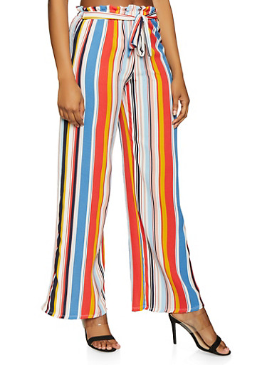 Striped Tie Front Palazzo Pants,IVORY,large