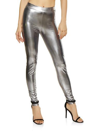 Metallic Leggings,SILVER,large