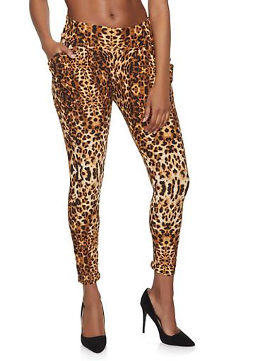 Leopard Print Harem Pants,BROWN,large