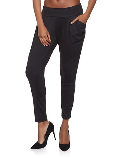 Soft Knit Harem Pants,BLACK,large